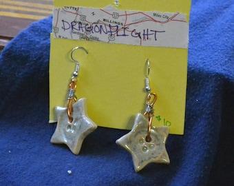 Teal Star Button Dangling Earrings