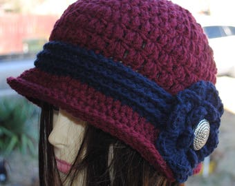 Womans Crochet cloche bucket flapper hat 22 to 24 Burgundy Blue