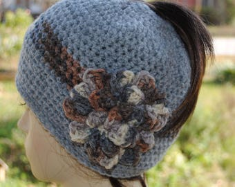 Handmade Crochet ponytail, bun hat 20 to 23 in Bluish Grey