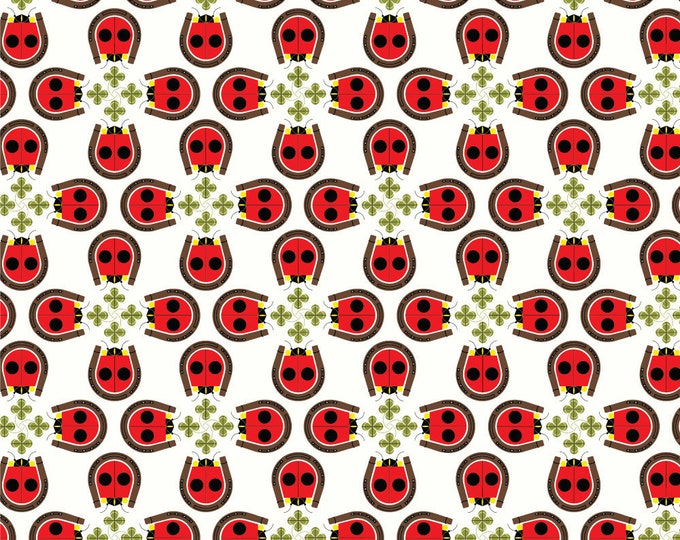 Lucky Ladybug by Charley Harper, Organic Cotton, Birch Fabrics, Quilt Weight Poplin
