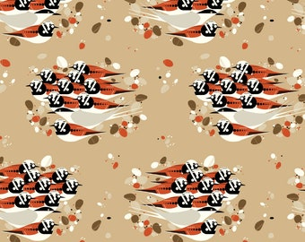 "Barkcloth Charley Harper Turnstones by the Half Yard  Organic Cotton Fabric from Birch Fabrics 58/60"" wide"