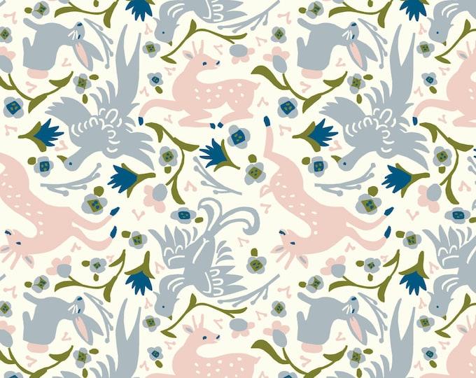 Gathering in Cream Jersey Knit Fabric Designer Kristen Balouch Organic Cotton by Birch Fabrics Sold by the Half Yard