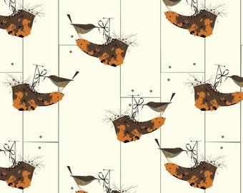 House Wren Organic Quilt Weight Cotton Poplin Charley Harper Bird Architects Birch Fabrics By the Yard