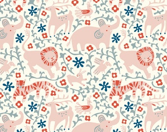 Hidden Flower Field in Cream Jersey Knit Fabric Designer Kristen Balouch Organic Cotton by Birch Fabrics Sold by the Half Yard
