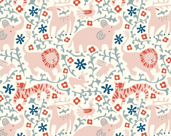 Hidden Flower Field in Cream Jersey Knit Fabric Designer Kristen Balouch Organic Cotton by Birch Fabrics Sold by the Half Yard