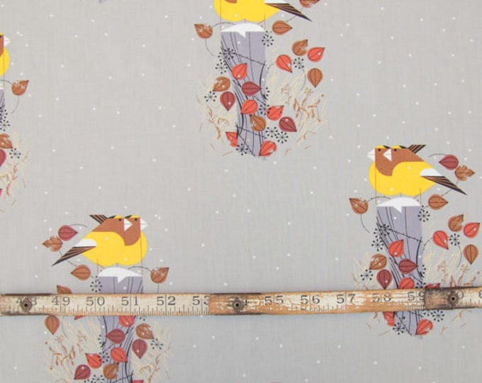 Evening Grosbeaks Charley Harper Holliday Collection from Birch Organic Fabrics Quilt Weight Poplin fabric by the Half Yard