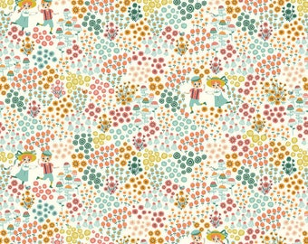 Meadow Frolic Double Gauze Birch Organic Fabrics by the half yard