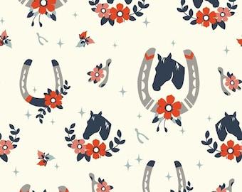 "Nostalgic ""Tall Tales"" Horses, Western Double Gauze Organic Apparel fabric by Birch Fabrics by the half yard"