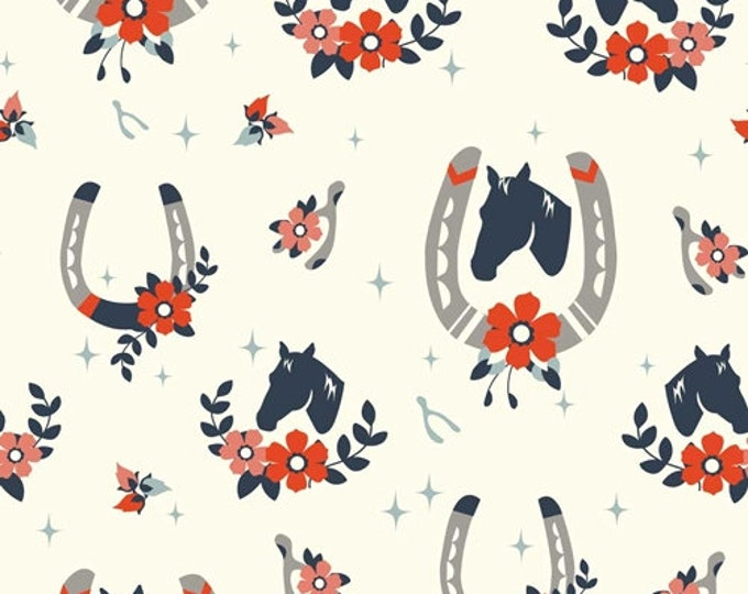"Nostalgic ""Tall Tales"" Horses, Western Double Gauze Organic Apparel fabric by Birch Fabrics by the half yard"