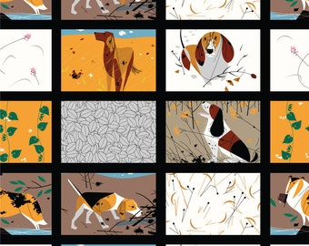 Backyard Dogs by Charley Harper, Organic Cotton, Birch Fabrics, Quilt Weight Poplin