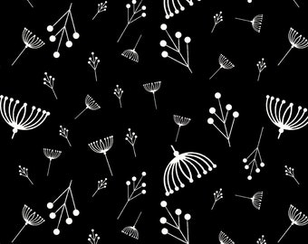 Twigs Black Organic Quilt Weight Cotton Poplin Cotton Fabric by the Yard Birch Fabrics Charley Harper