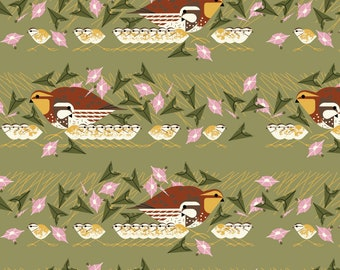 "Barkcloth Charley Harper Family Outing by the Half Yard Organic Cotton Fabric from Birch Fabrics 58/60"" wide"