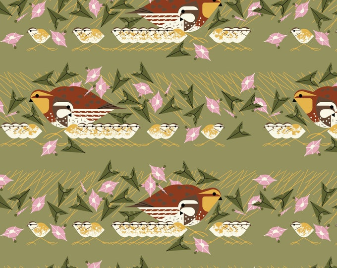 """Barkcloth Charley Harper Family Outing by the Half Yard Organic Cotton Fabric from Birch Fabrics 58/60"""" wide"""