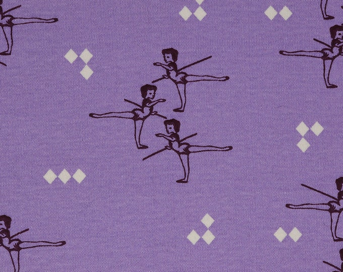 Knit Lavender Arabesque from Pirouette Collection Organic Knit Fabric by the Half Yard Birch Fabrics by Arleen Hillyer