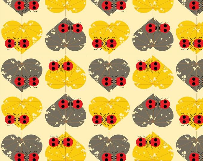 Ladybug Lovers Organic Cotton Quilt Weight Poplin by the Half Yard from Birch Fabrics by Mid Century Modern Artist Charley Harper