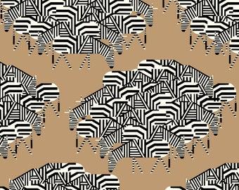 "Barkcloth Charley Harper Serengeti Spaghetti by the Half Yard Organic Cotton Fabric from Birch Fabrics 58/60"" wide"