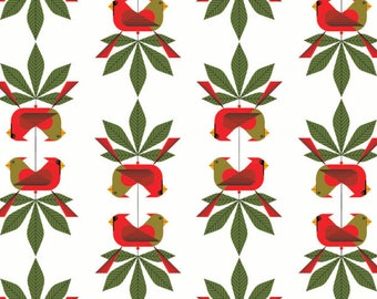 Cardinal Consort by Charlie Harper Christmas Collection from Birch Organic Fabrics Quilt Fabric by the halfYard