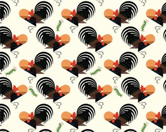 Crawling Tale Roosters by Charley Harper, Organic Cotton, Birch Fabrics, Quilt Weight Poplin