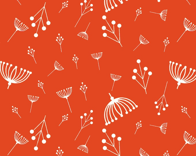 Twigs Tomato Organic Quilt Weight Cotton Poplin Cotton Fabric by the Yard Birch Fabrics Charley Harper