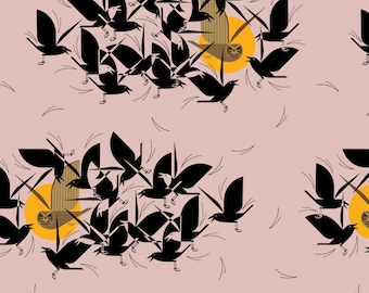 "Barkcloth Charley Harper Owltercation by the Half Yard Organic Cotton Fabric from Birch Fabrics 58/60"" wide"
