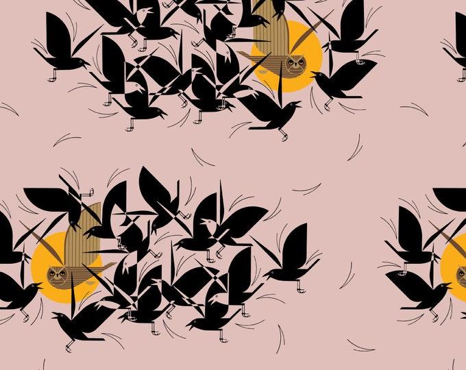 "Barkcloth Charley Harper Owltercation by the Half Yard Organic Cotton Fabric from Birch Fabrics 58/60"" wide"