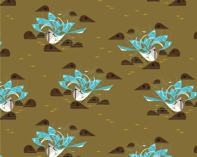 Blue Jay Bathing Organic Cotton Quilt Weight Poplin by the Half Yard from Birch Fabrics by Mid Century Modern Artist Charley Harper