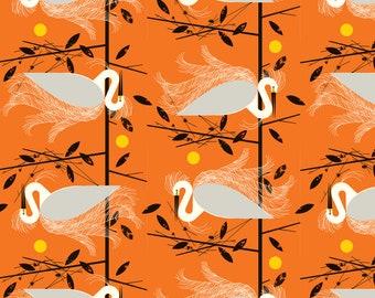 Snowy Egret by Charley Harper Organic Cotton Poplin from Birch Fabrics