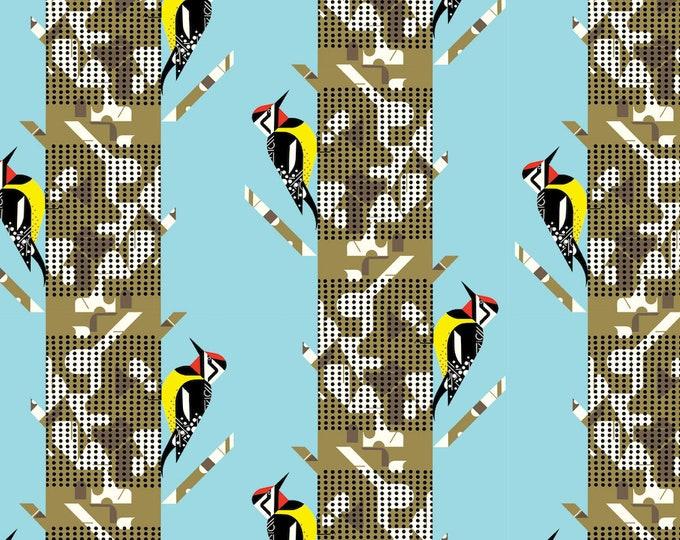 Yellow Bellied Sapsucker Organic Cotton Quilt Weight Poplin by the Half Yard from Birch Fabrics by Mid Century Modern Artist Charley Harper