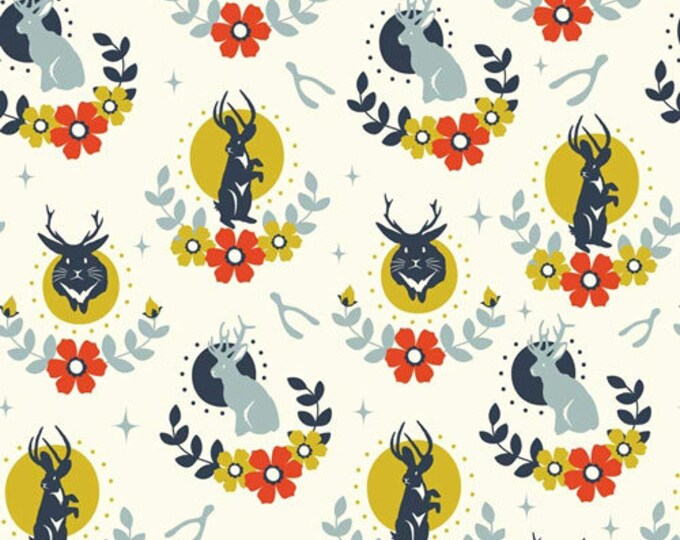 Jackalope Cream Double Gauze Organic Cotton Birch Fabrics by the half yard