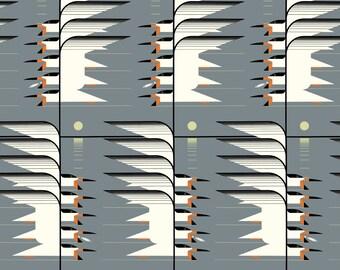 "Barkcloth Charley Harper Skimmerscape by the Half Yard Organic Cotton Fabric from Birch Fabrics 58/60"" wide"