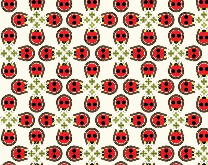 Lucky Ladybugs Interlock Knit Sold by the Half Yard Charley Harper Birch Fabrics Organic Cotton