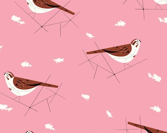 "Barkcloth Charley Harper Song Sparrow by the Half Yard Organic Cotton Fabric from Birch Fabrics 58/60"" wide"
