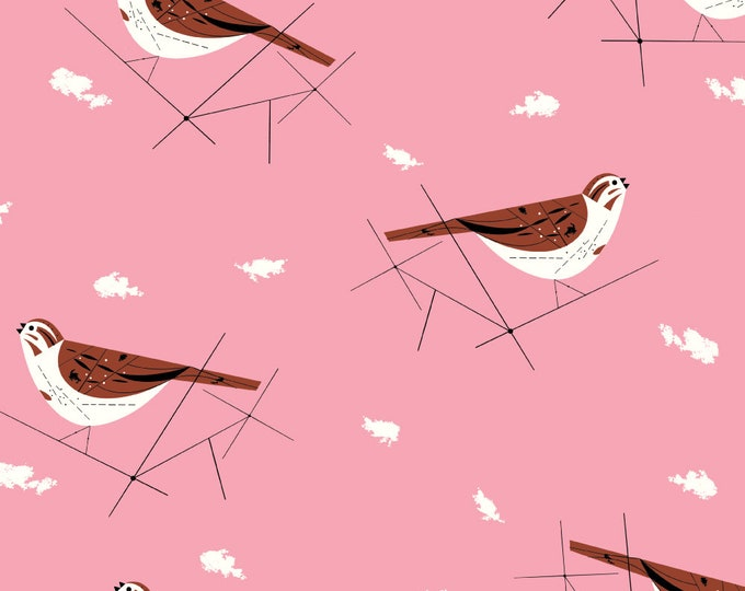 """Barkcloth Charley Harper Song Sparrow by the Half Yard Organic Cotton Fabric from Birch Fabrics 58/60"""" wide"""