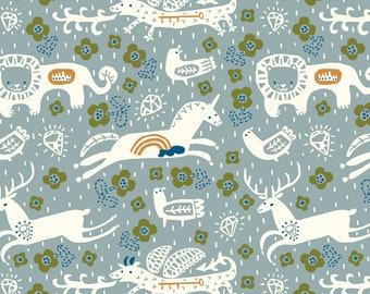 Key to the Kingdom in Mineral Interlock Knit Fabric Designer Kristen Balouch Organic Cotton by Birch Fabrics Sold by the Half Yard