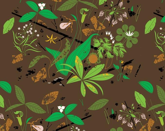 "Charley Harper Spring Flowers Barkcloth by the Half Yard Organic Cotton Fabric from Birch Fabrics 58/60"" wide"