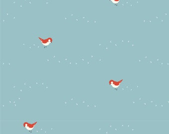 Tiny Steps Bird Pool Blue Organic Interlock Knit by Birch Fabrics Baby and Toddler Clothes / Apparel Fabric