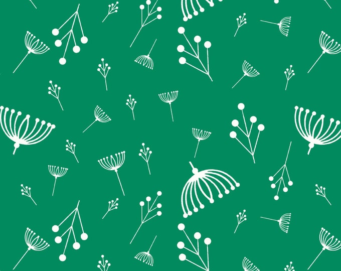 Twigs Green Organic Quilt Weight Cotton Poplin Cotton Fabric by the Yard Birch Fabrics Charley Harper