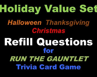 Printable Halloween Trivia Cards For Run The Gauntlet Trivia Etsy