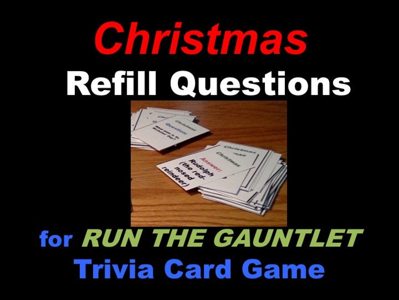 Printable Christmas Refill Set for Run the Gauntlet Trivia image 0