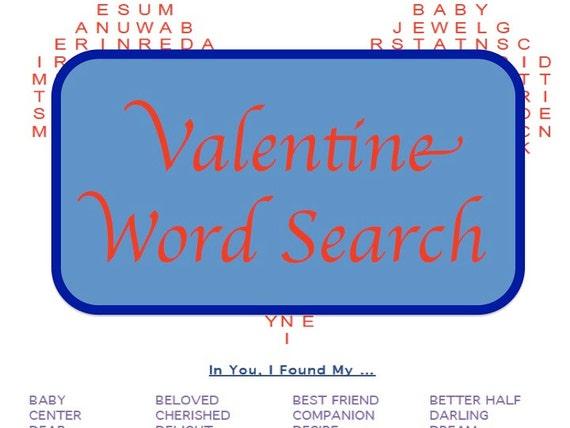 Puzzle de recherche de Word imprimable romantique Valentine avec 32 termes d'affection en couleur et noir et blanc