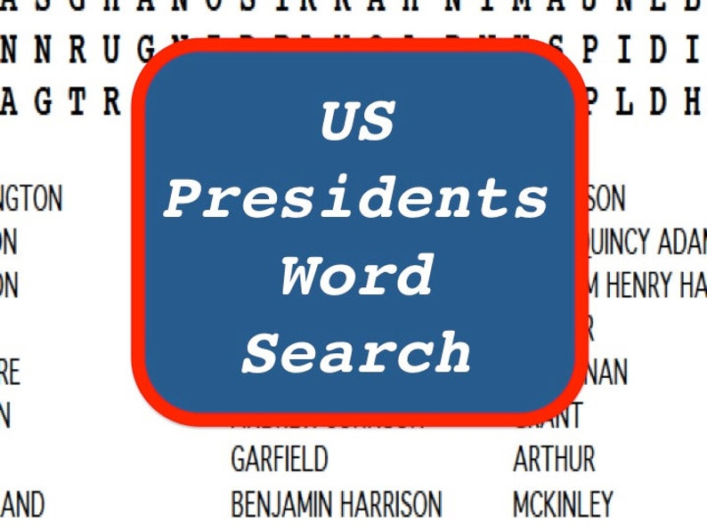 US Presidents Printable Word Search Puzzle Updated in 2020 image 0