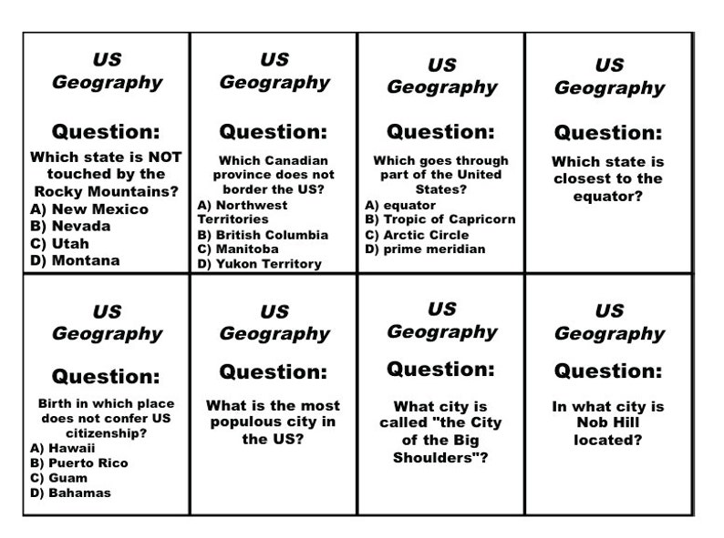 Printable US Geography Trivia Cards, Refill Set for Run the Gauntlet Trivia  Game,