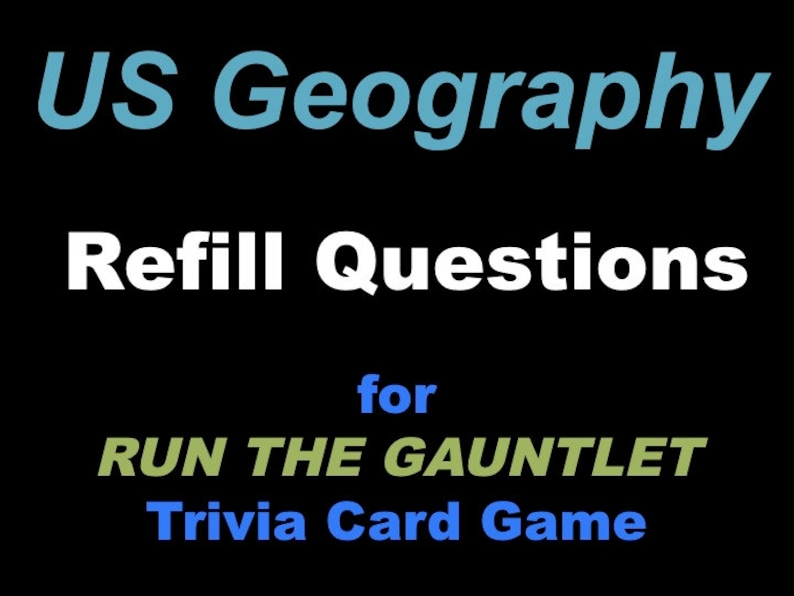 Printable US Geography Trivia Cards Refill Set for Run the image 0