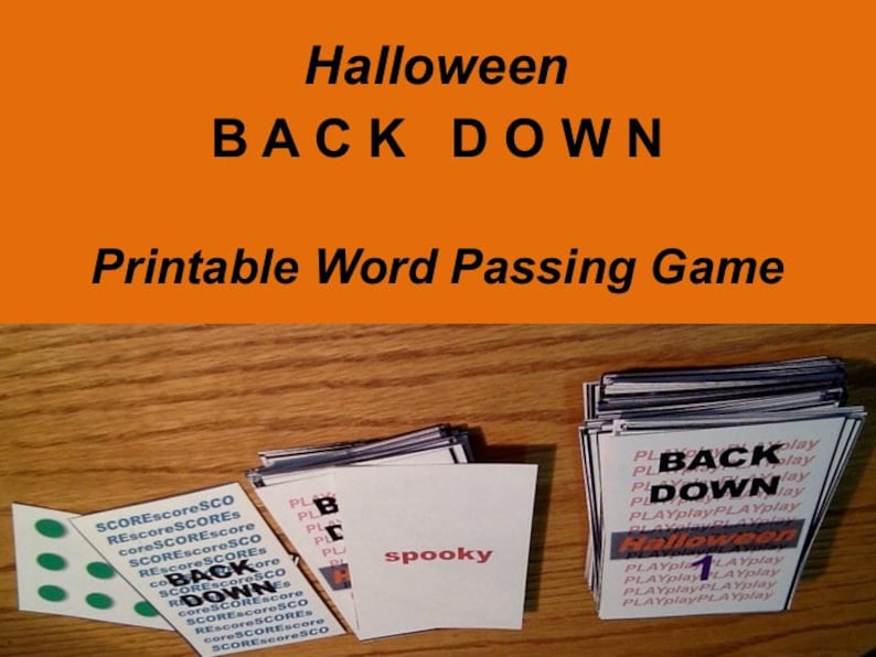 Printable Halloween Word Passing Game Back Down complete image 0