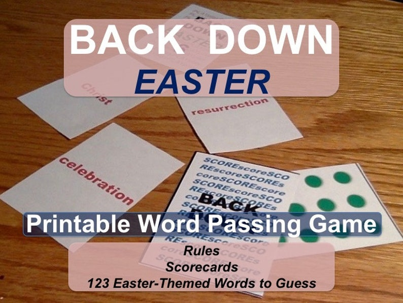 Printable Easter Word Passing Game BACK DOWN for Ages 8 to image 0