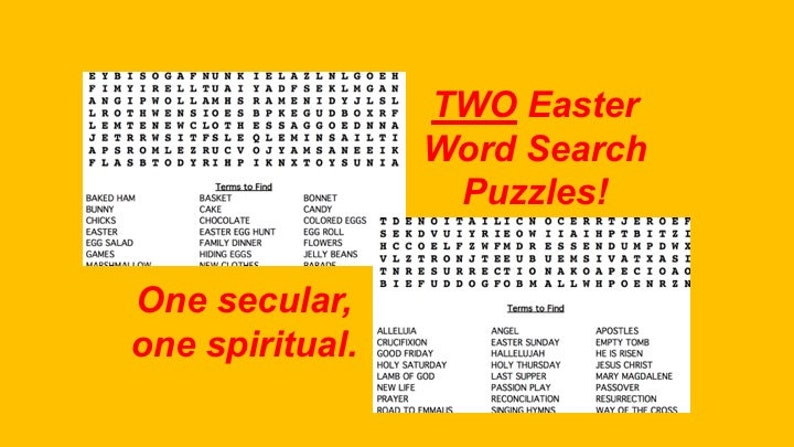 Two Printable Religious and Non-Religious Easter Word Search image 0