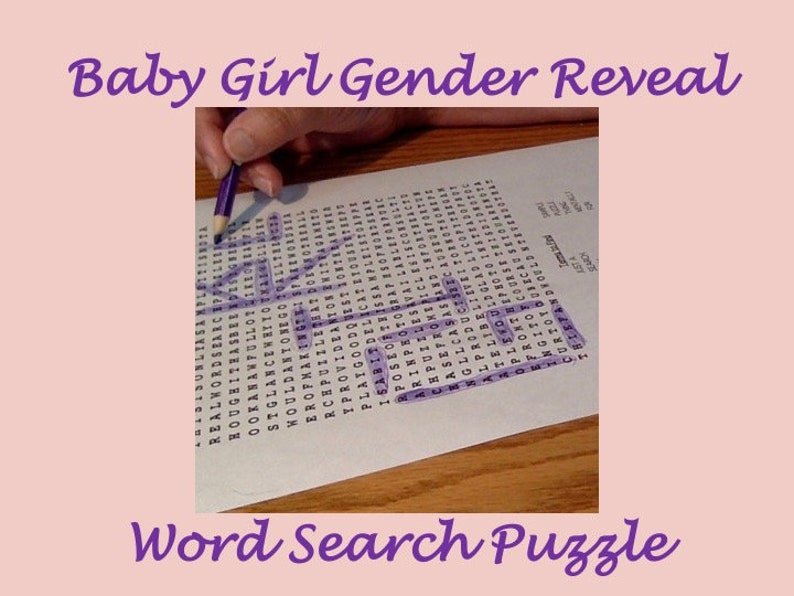 Printable Baby Girl Gender Reveal Word Search Puzzle Shower image 0