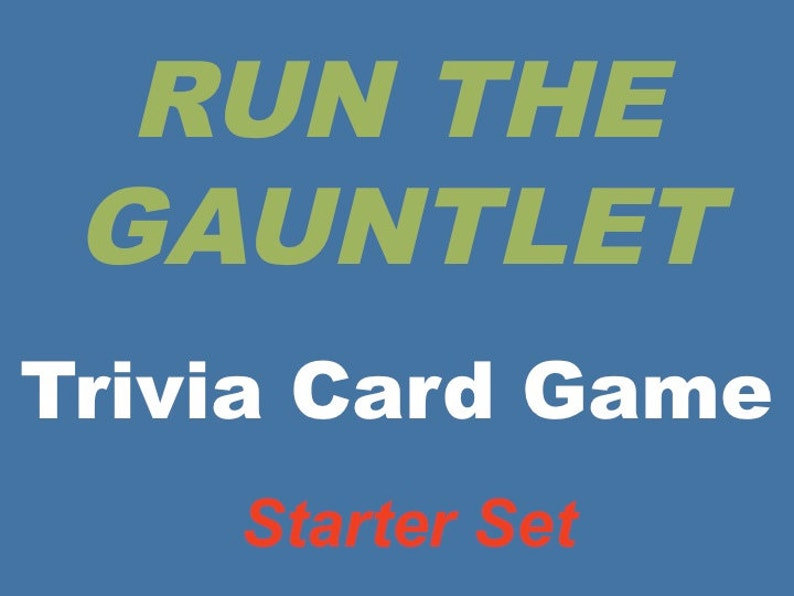 Printable Run the Gauntlet Trivia Card Game for 4-7 Players image 0