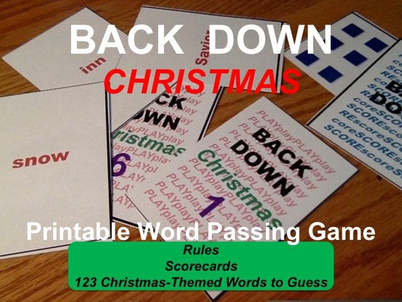 Printable Christmas Word Passing Game 4 to 8 players Age 8 image 0
