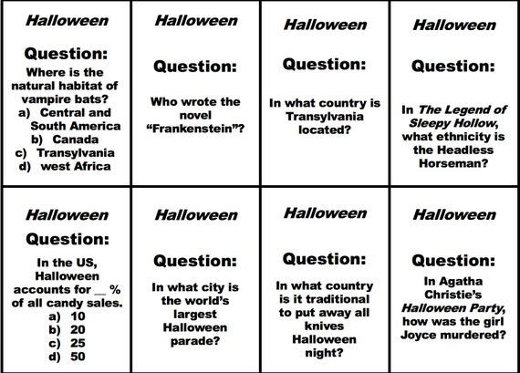 graphic regarding Printable Halloween Trivia identified as Printable Halloween Trivia Speculate Playing cards for Work THE GAUNTLET Trivia Sport, Getaway Trivia Card Refill Fixed for Halloween Trivia Concerns